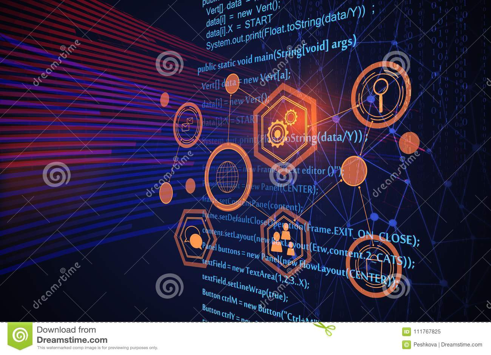 Futuristic HTML background stock illustration  Illustration