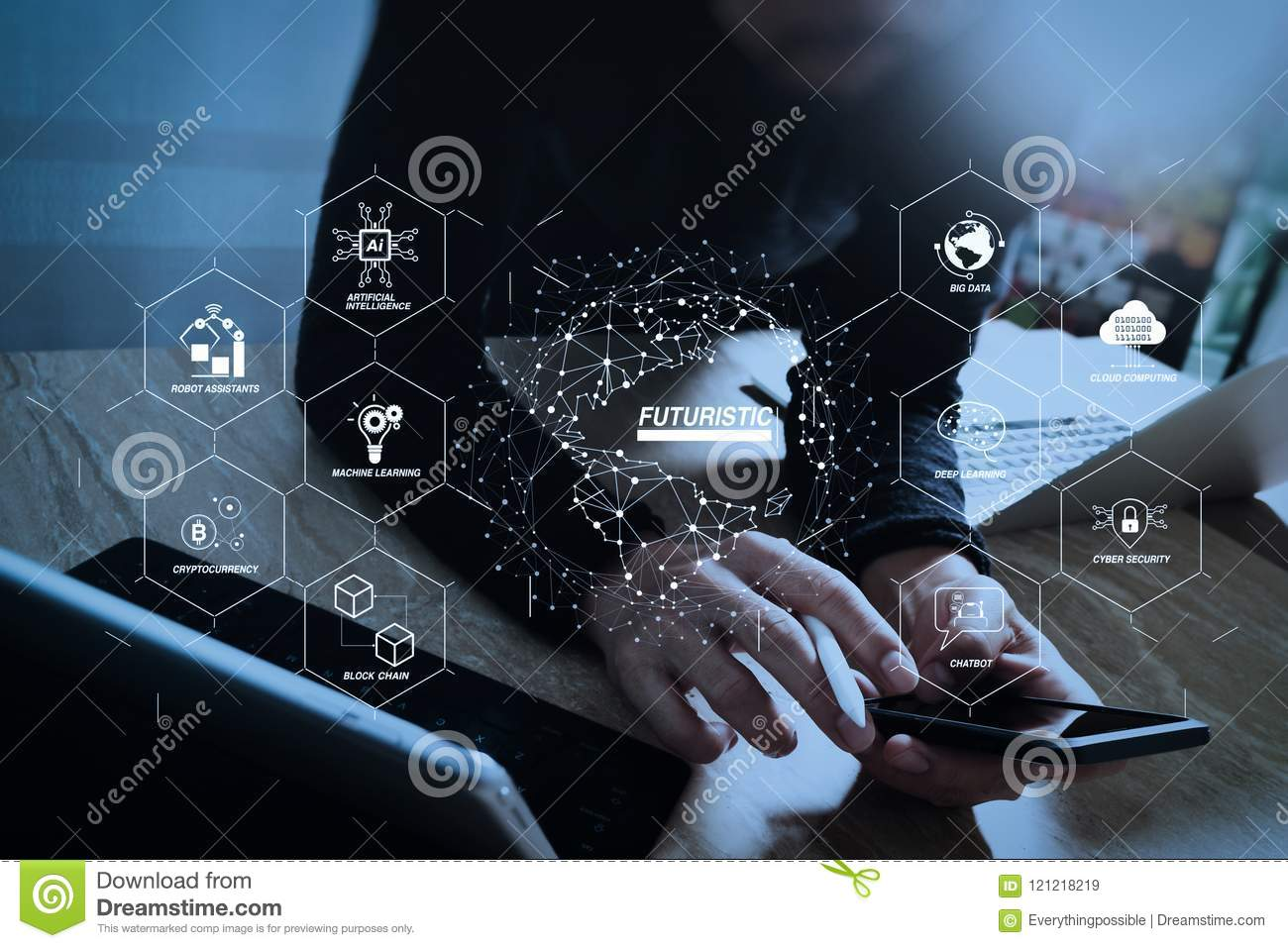 Designer using smart phone and keyboard dock digital tablet with futuristic in industry 40 and business virtual diagram with ai robot assistant cloud big data and automation designer using smart phone and keyboard ccuart Gallery