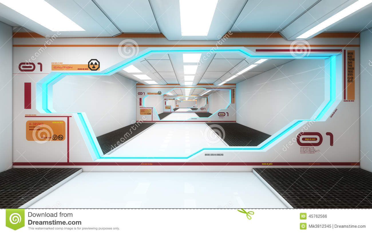 Futuristic interior architecture stock illustration for Interieur architecture