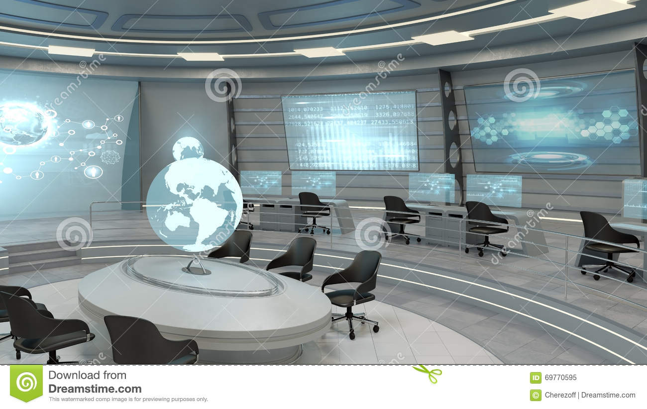 futuristic interior view stock illustration illustration