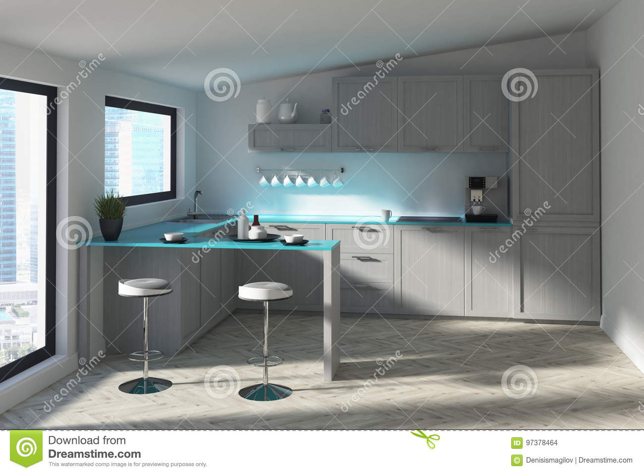 download futuristic kitchen with a bar blue stock illustration illustration of inside property - Futuristic Kitchen