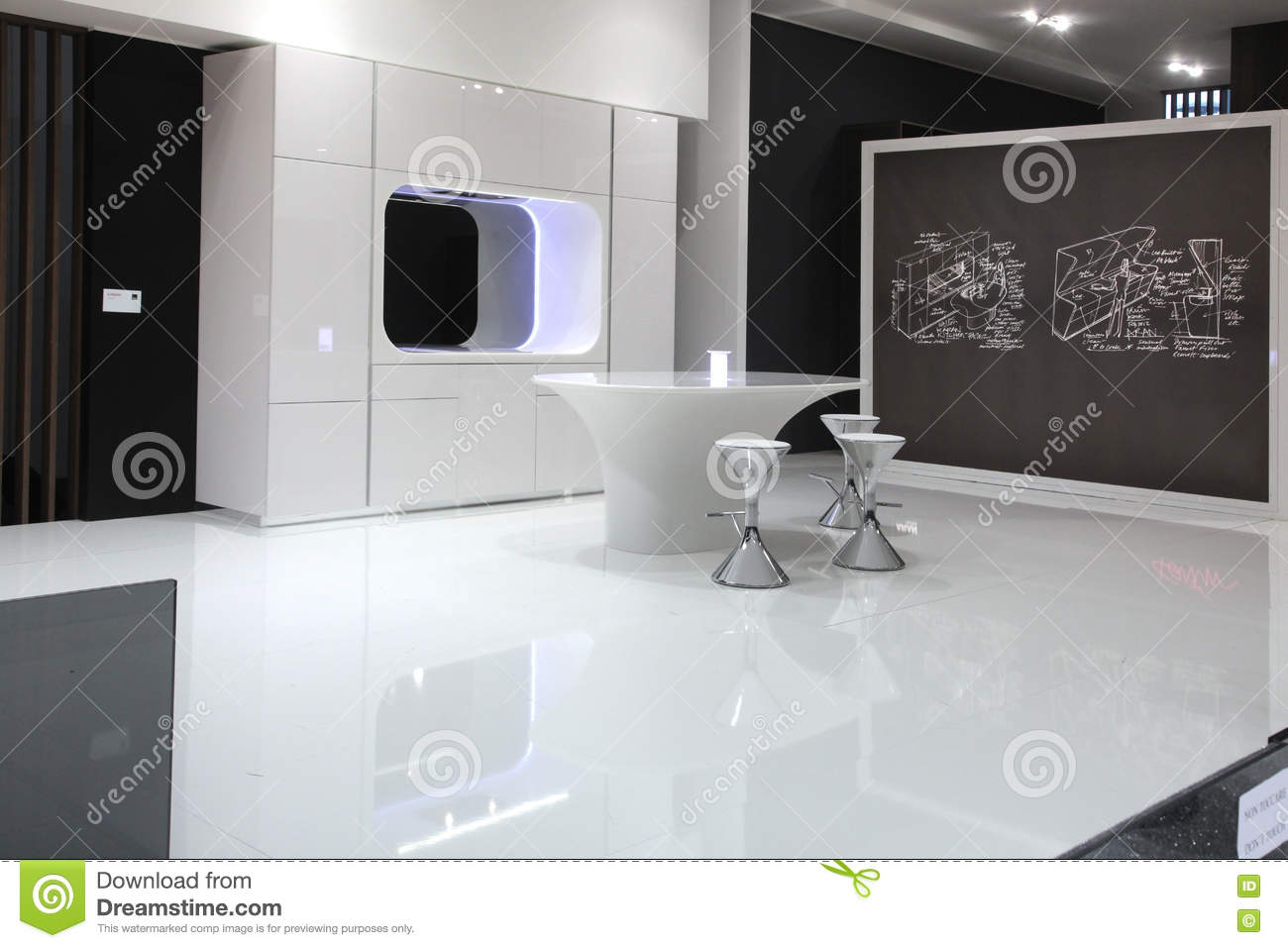 futuristic kitchen in black and white - Futuristic Kitchen