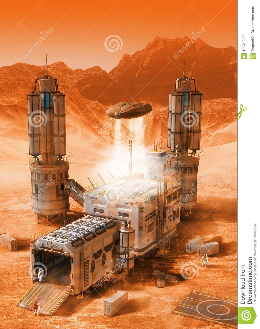 Futuristic Mars Base Colony Stock Illustration
