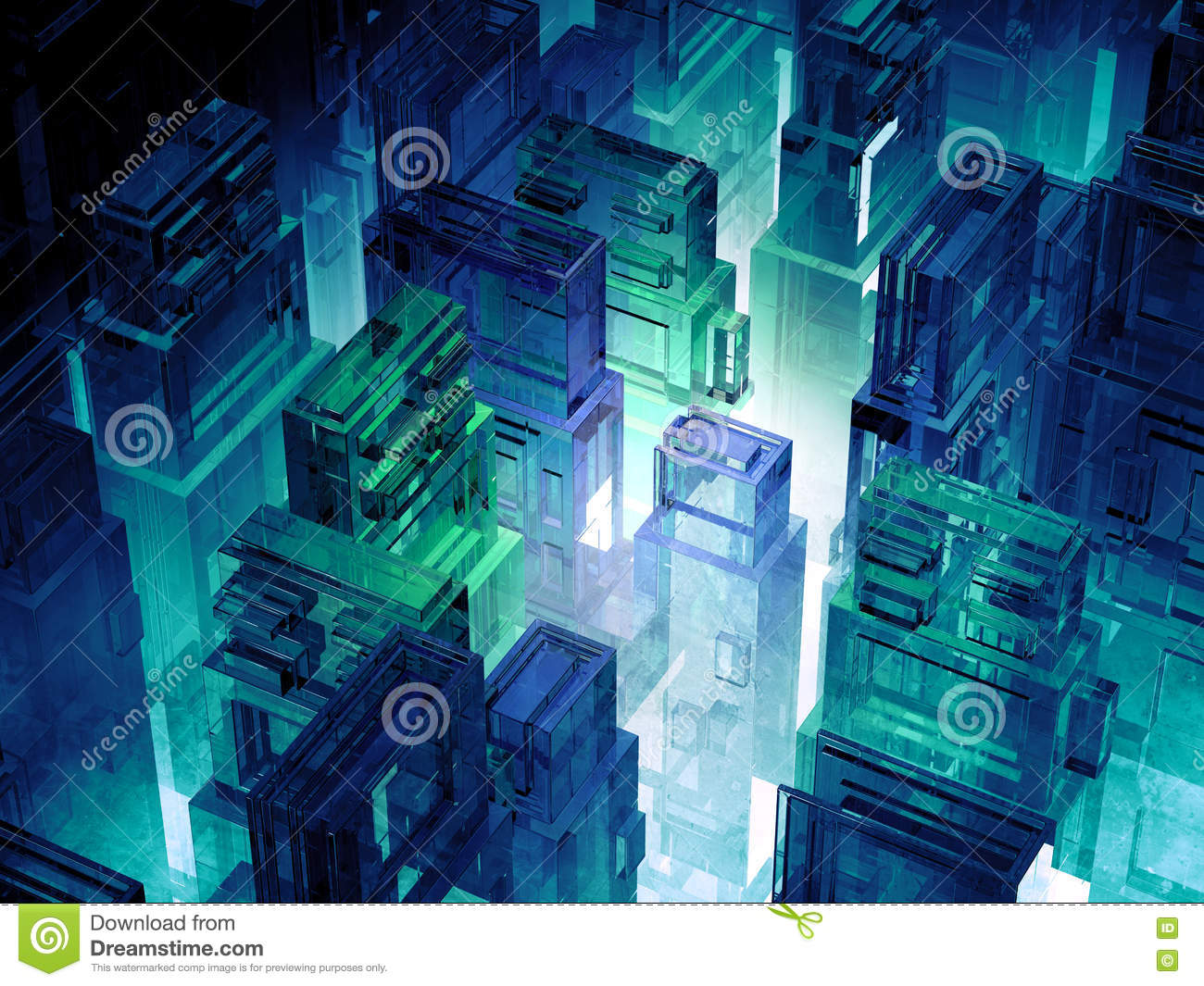 Futuristic micro chips city. Computer science information technology background. Sci fi megalopolis. 3d illustration