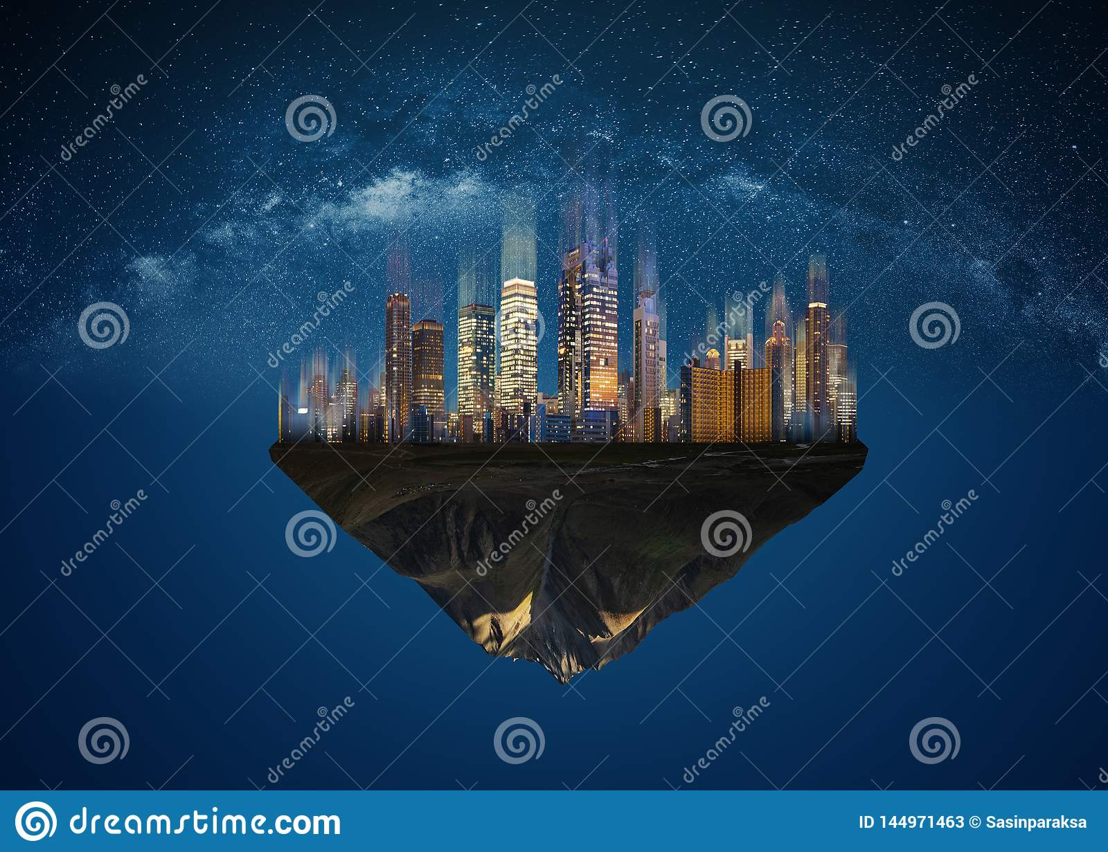 Futuristic modern buildings in the city on floating island at night
