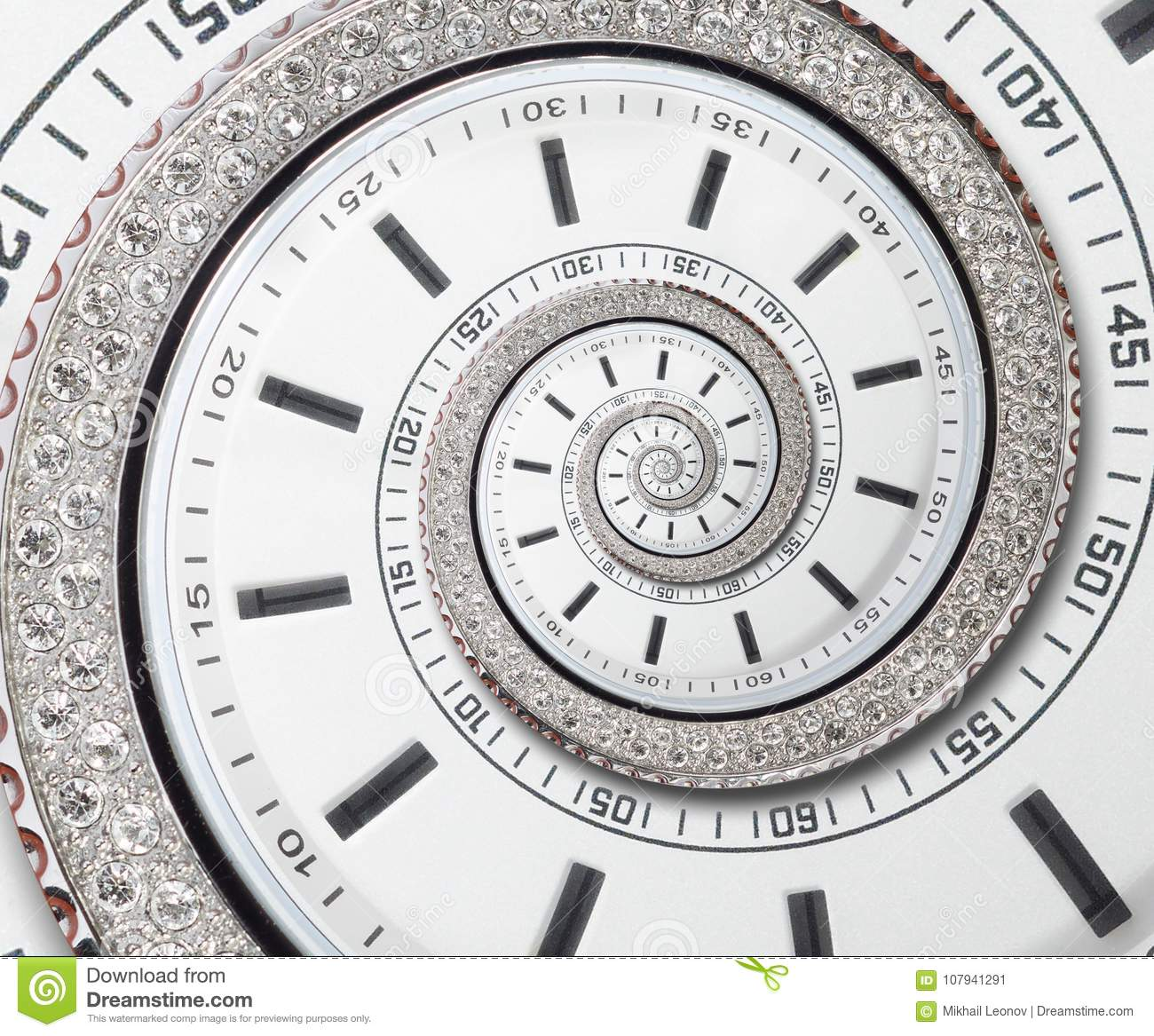 Futuristic modern white clock watch abstract fractal surreal spiral. Watch clock unusual abstract texture pattern fractal backdrop
