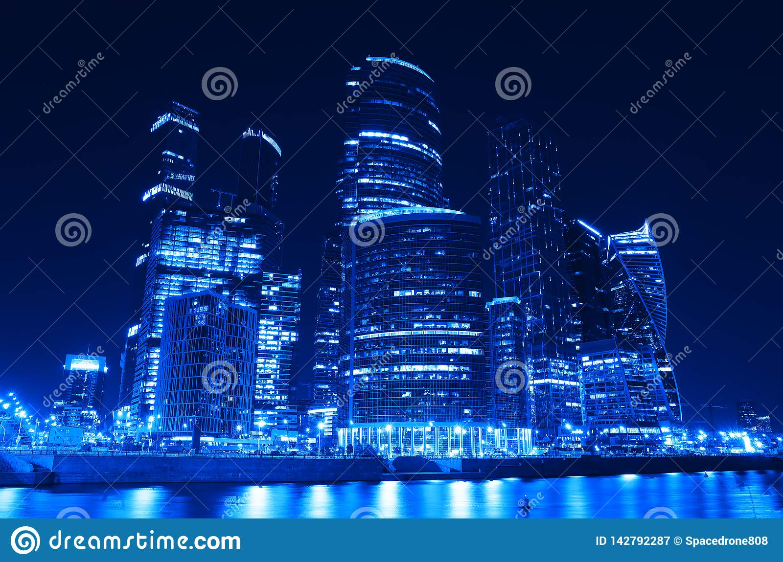 Futuristic Moscow City Skyscrapers At Night Background Stock