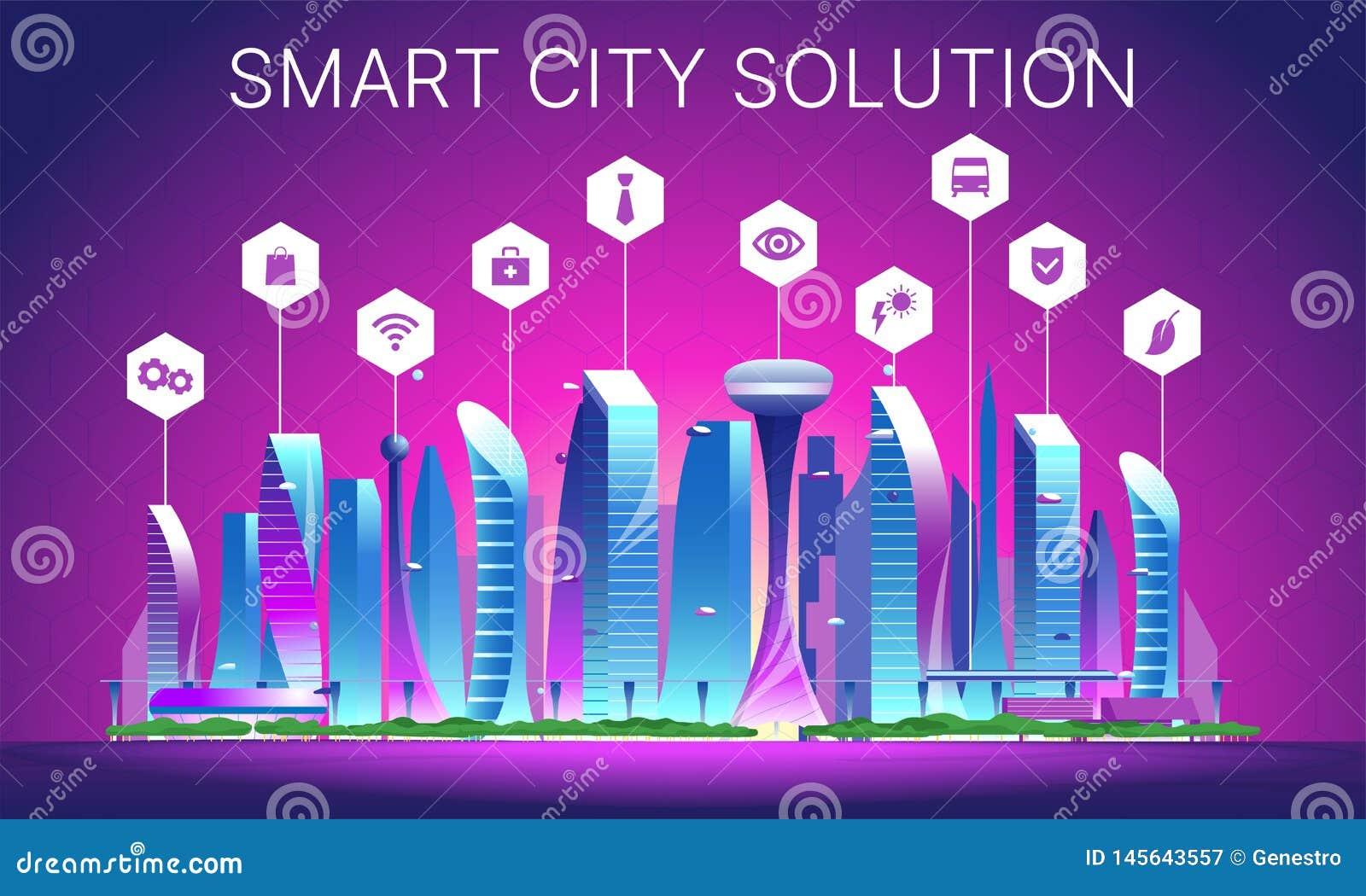 Futuristic night cityscape 03