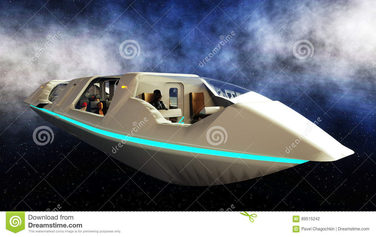 Futuristic passenger bus flying in space transport of the for Flying spaces