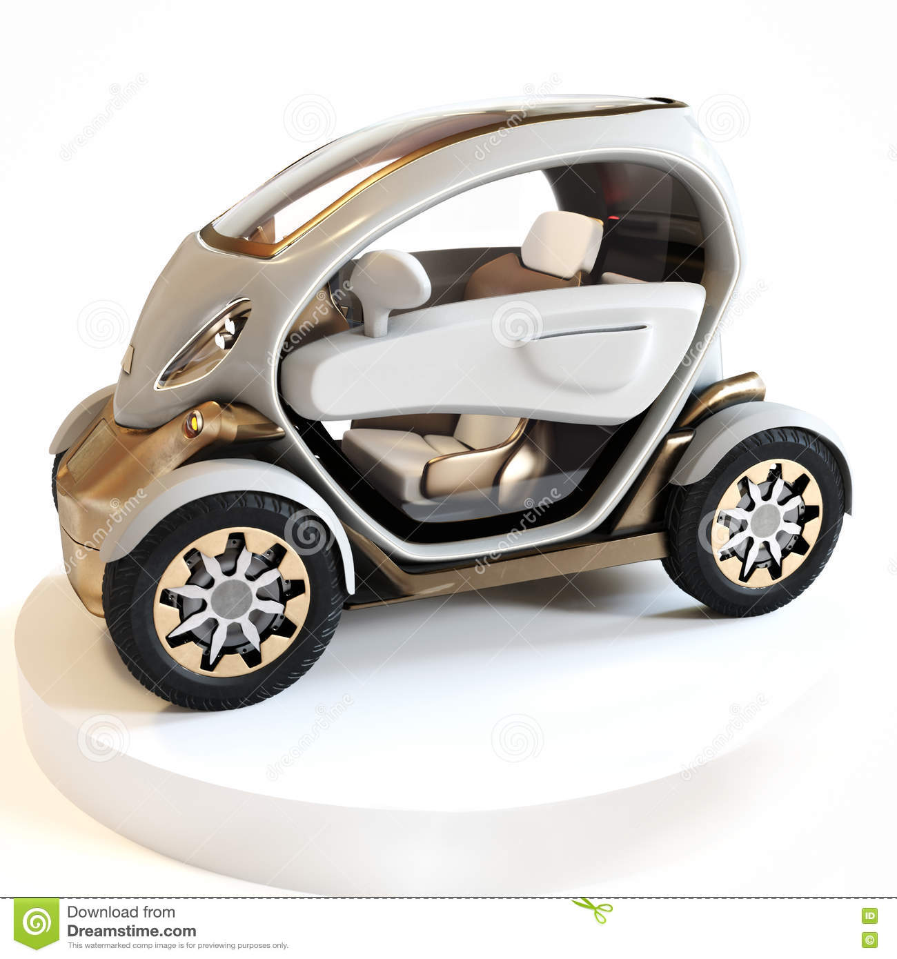 futuristic personal concept car on display with a white background