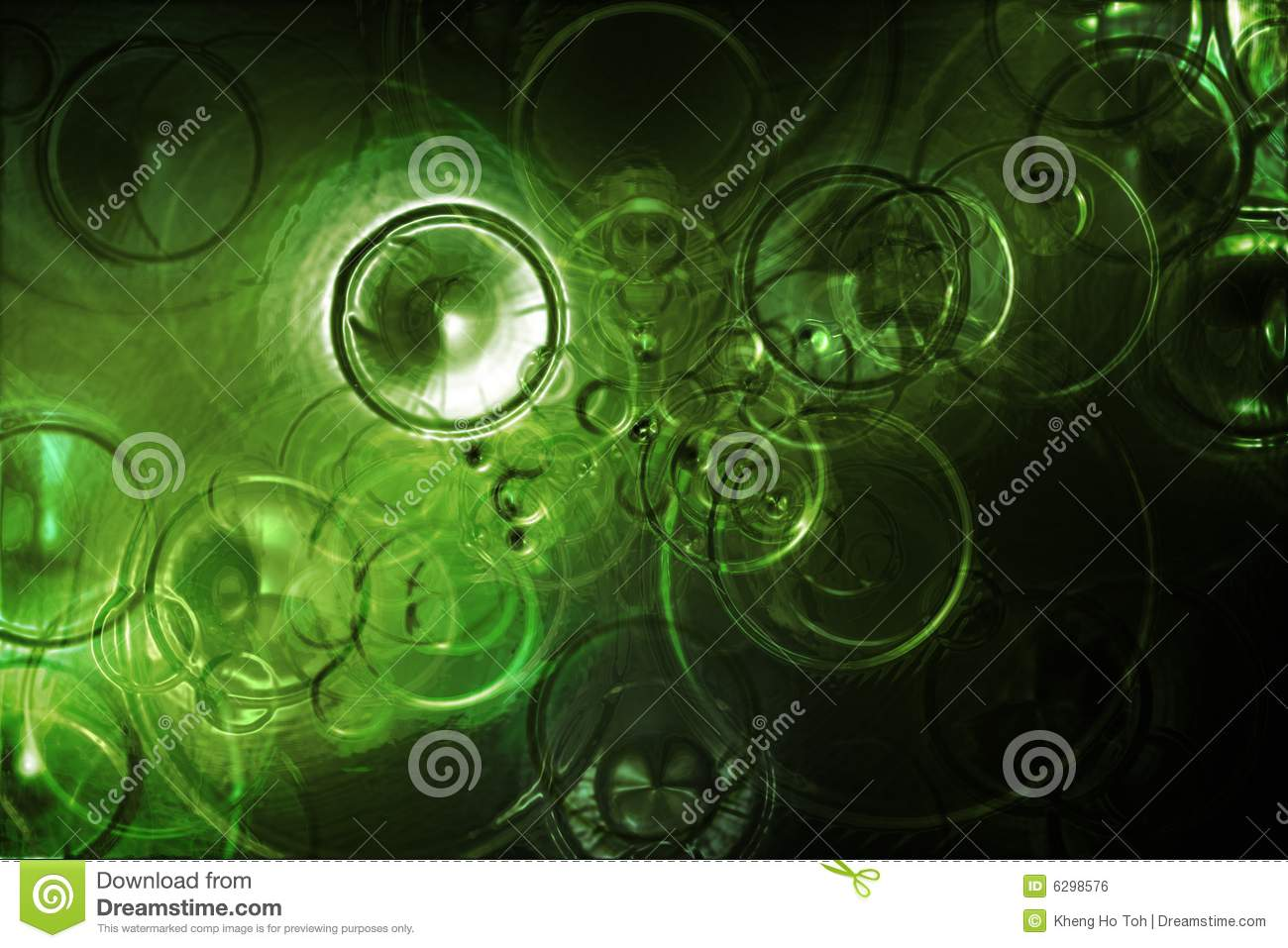 Futuristic Raindrops Abstract In a Green Water
