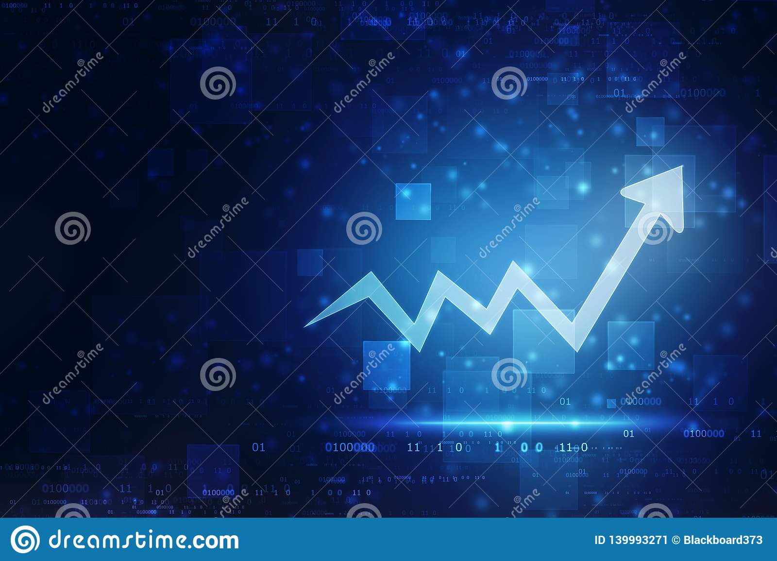 Futuristic raise arrow chart digital transformation abstract technology background, stock market and investment economy background