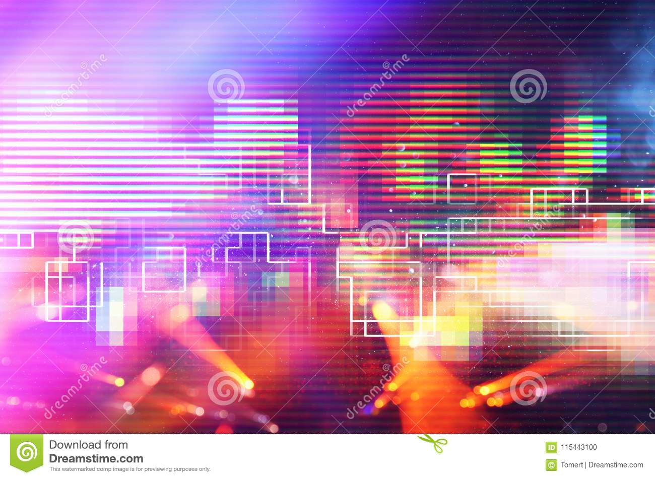 Futuristic retro background of the 80`s retro style. Digital or Cyber Surface. neon lights and geometric pattern.