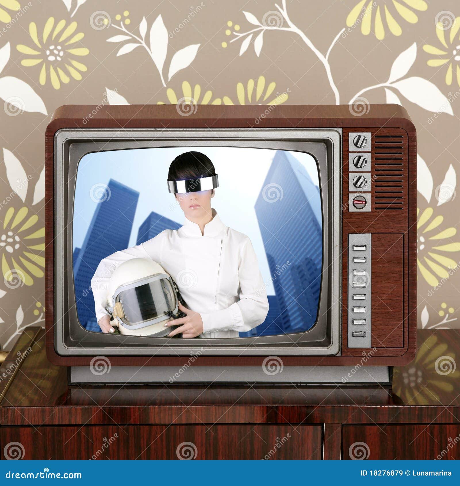 Futuristic retro contrast vintage tv future woman