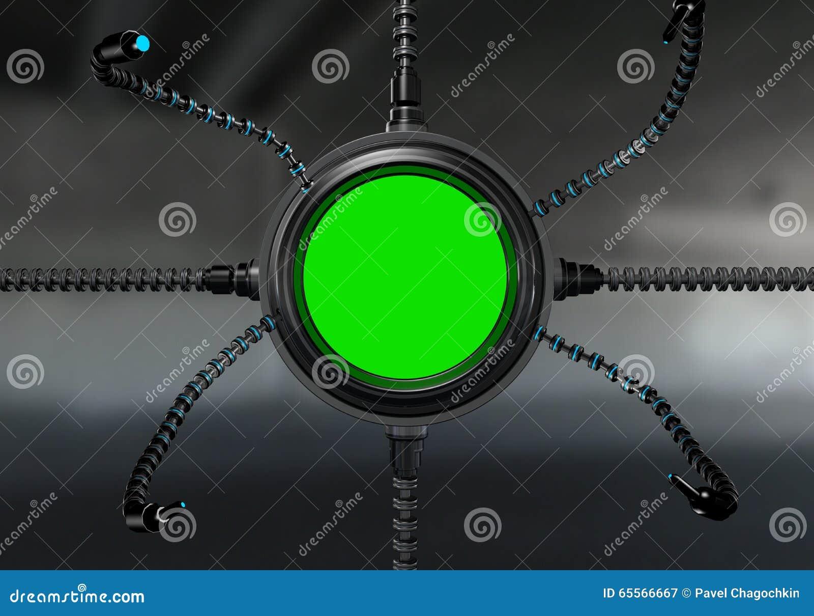 Futuristic sci-fi metal element . Futuristic monitor, display. Future concept.