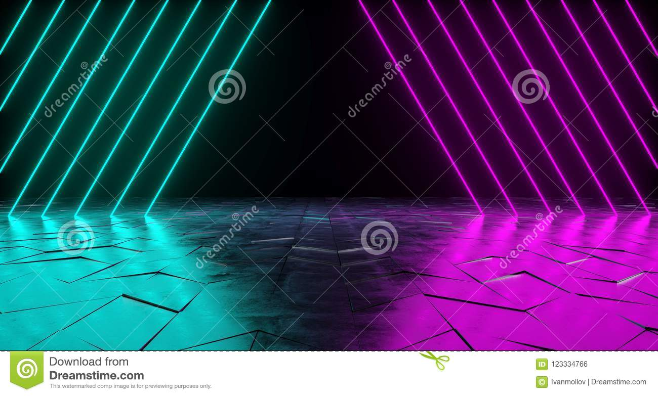 Futuristic Sci-Fi Triangle Shaped Neon Tube Vibrant Purple And B