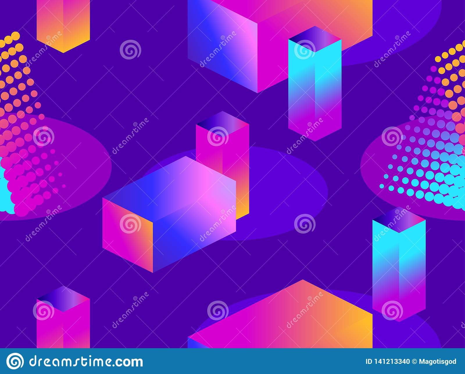 Futuristic seamless pattern with geometric shapes. Isometric 3d objects. Purple and blue gradient. Retrowave. Vector