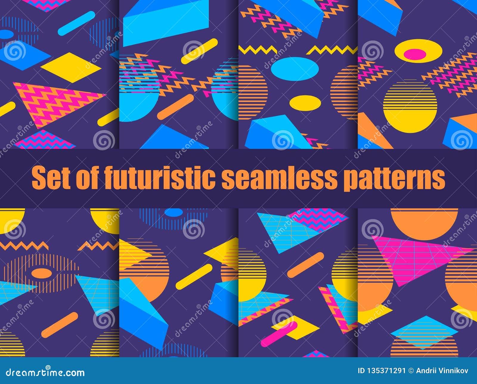 Futuristic Seamless Pattern Set  Geometric Elements Memphis