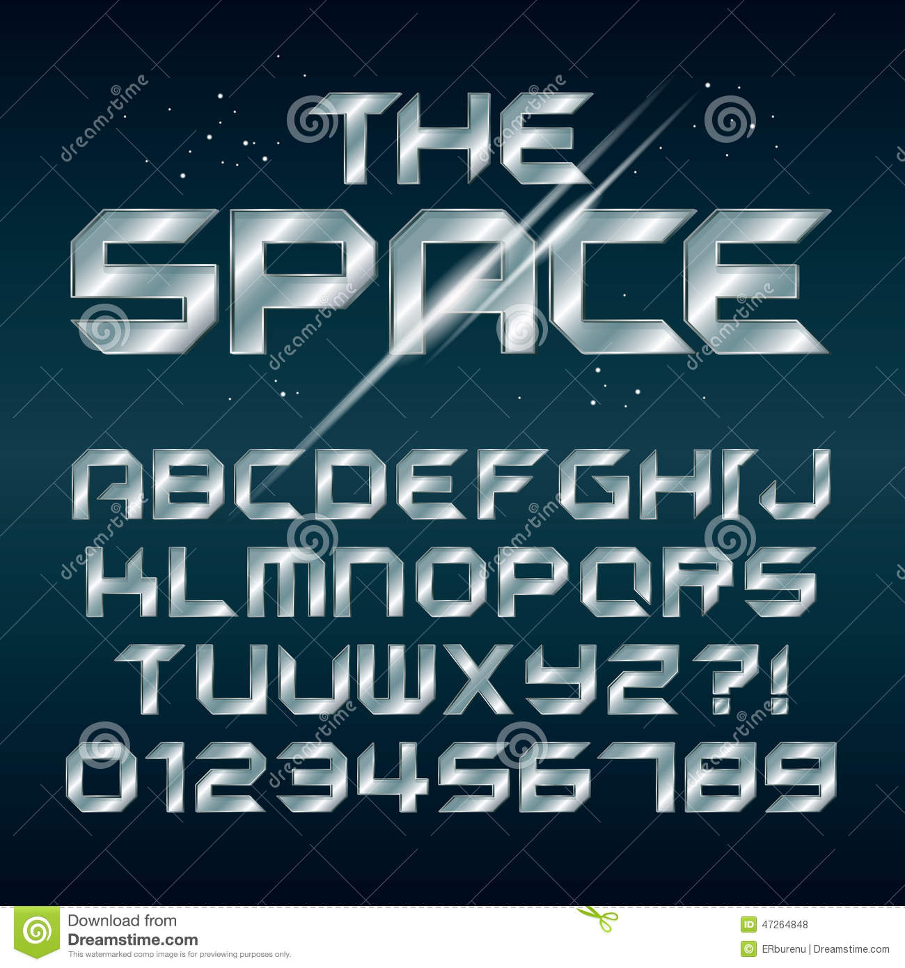 Futuristic Silver Chrome Alphabet and Numbers