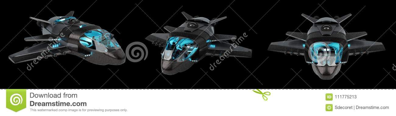 Futuristic spacecraft collection isolated on black background 3D rendering