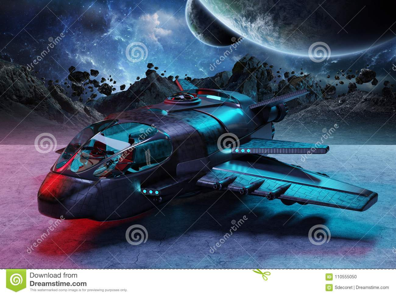 Futuristic spacecraft on planet background 3D rendering elements