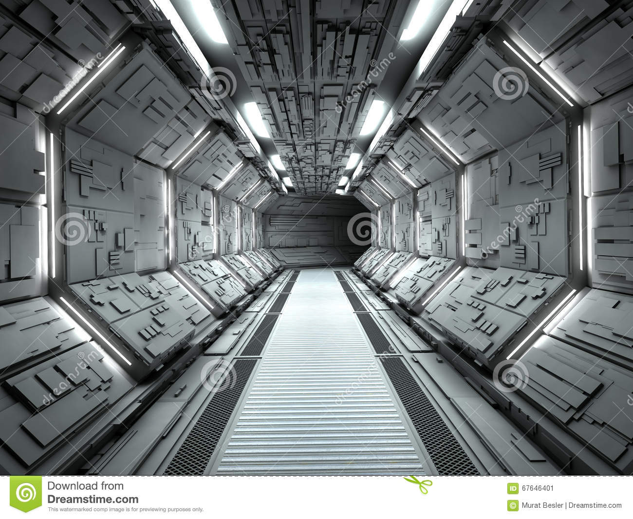 Futuristic Spaceship Interior Stock Illustration Image
