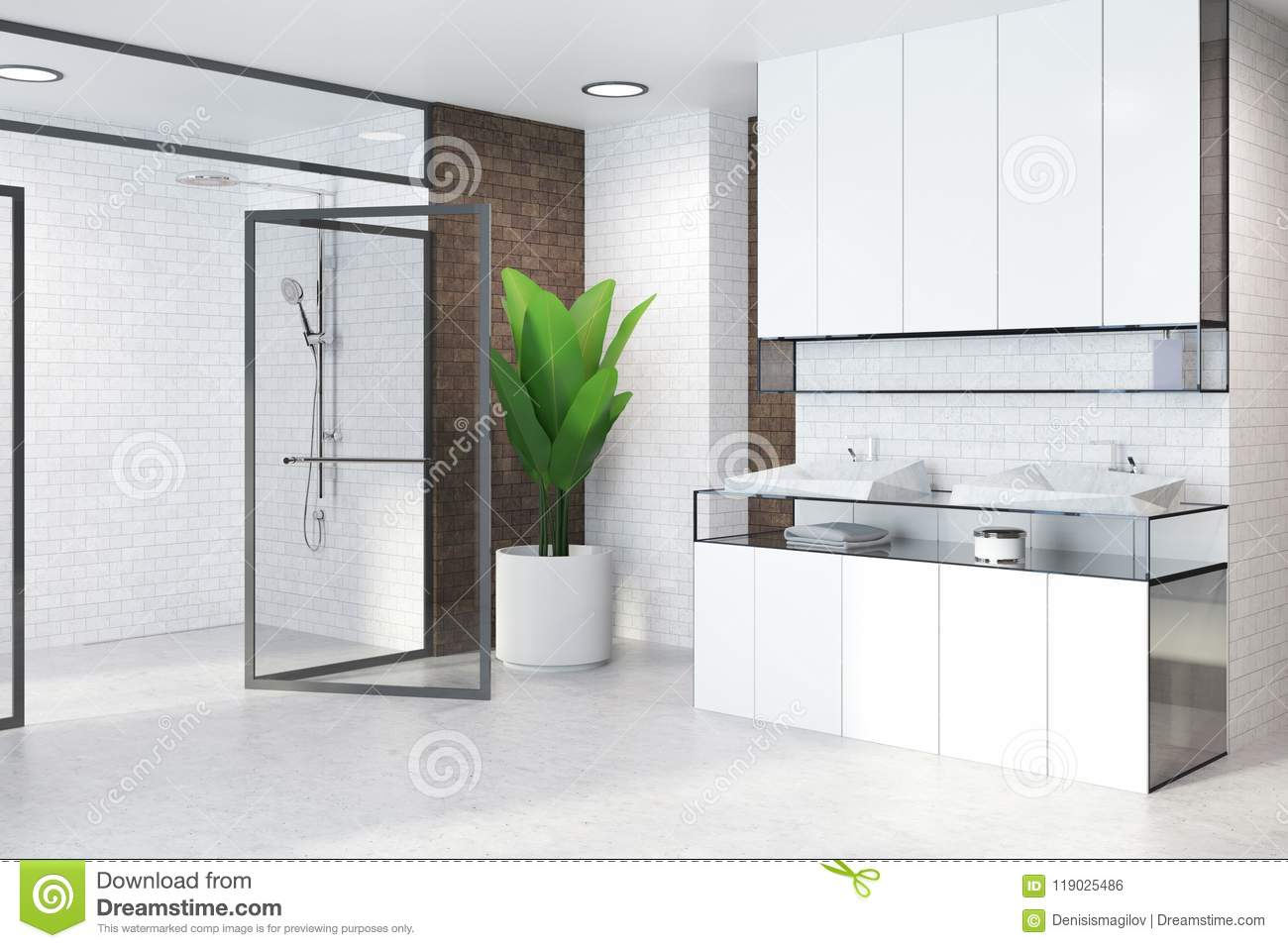 White Cabinets Bathroom Sink And Glass Doors Side Stock