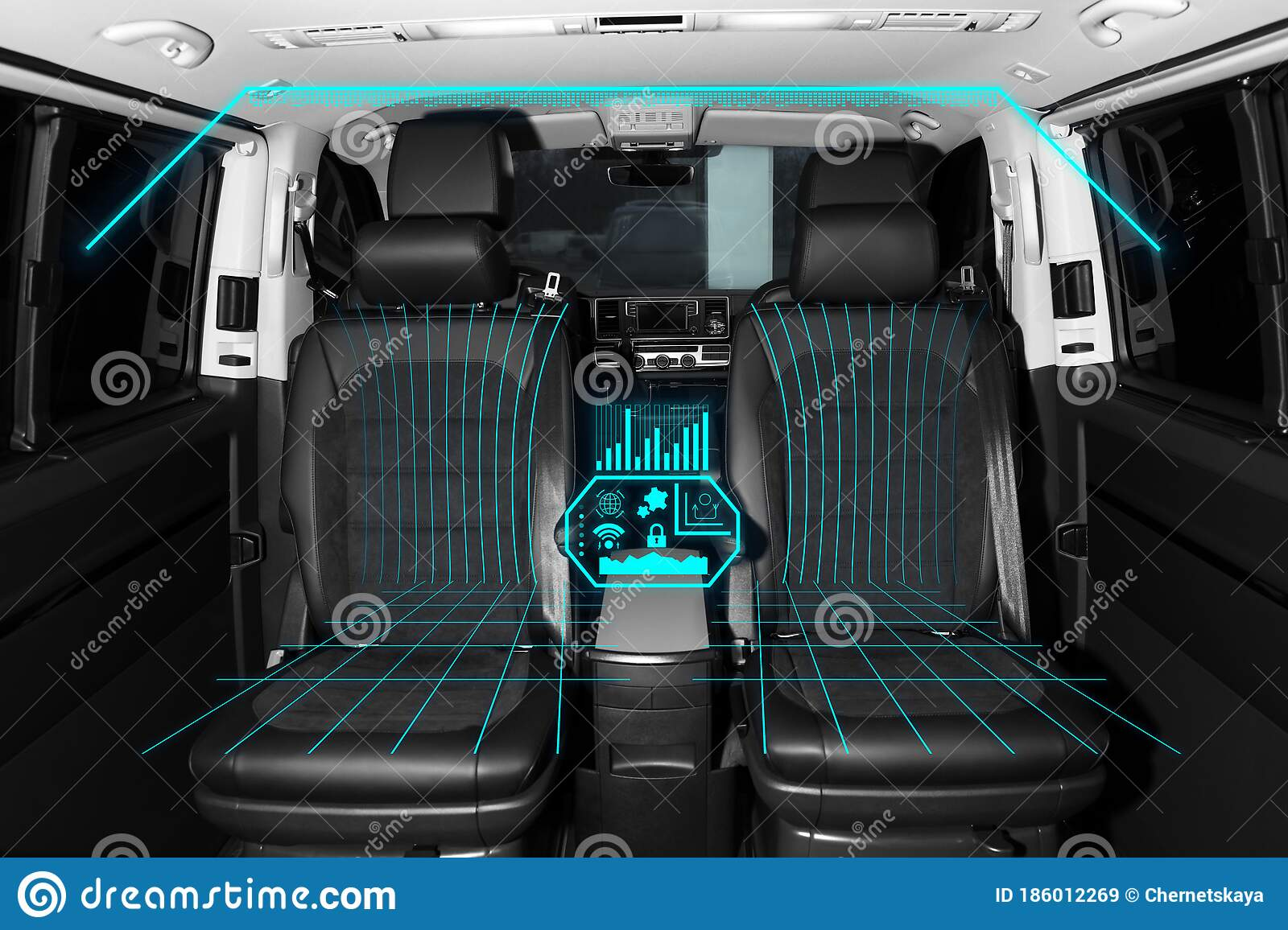 Futuristic Car Interior With Graphical User Interface Stock Image Image Of Computer Comfortable 186012269