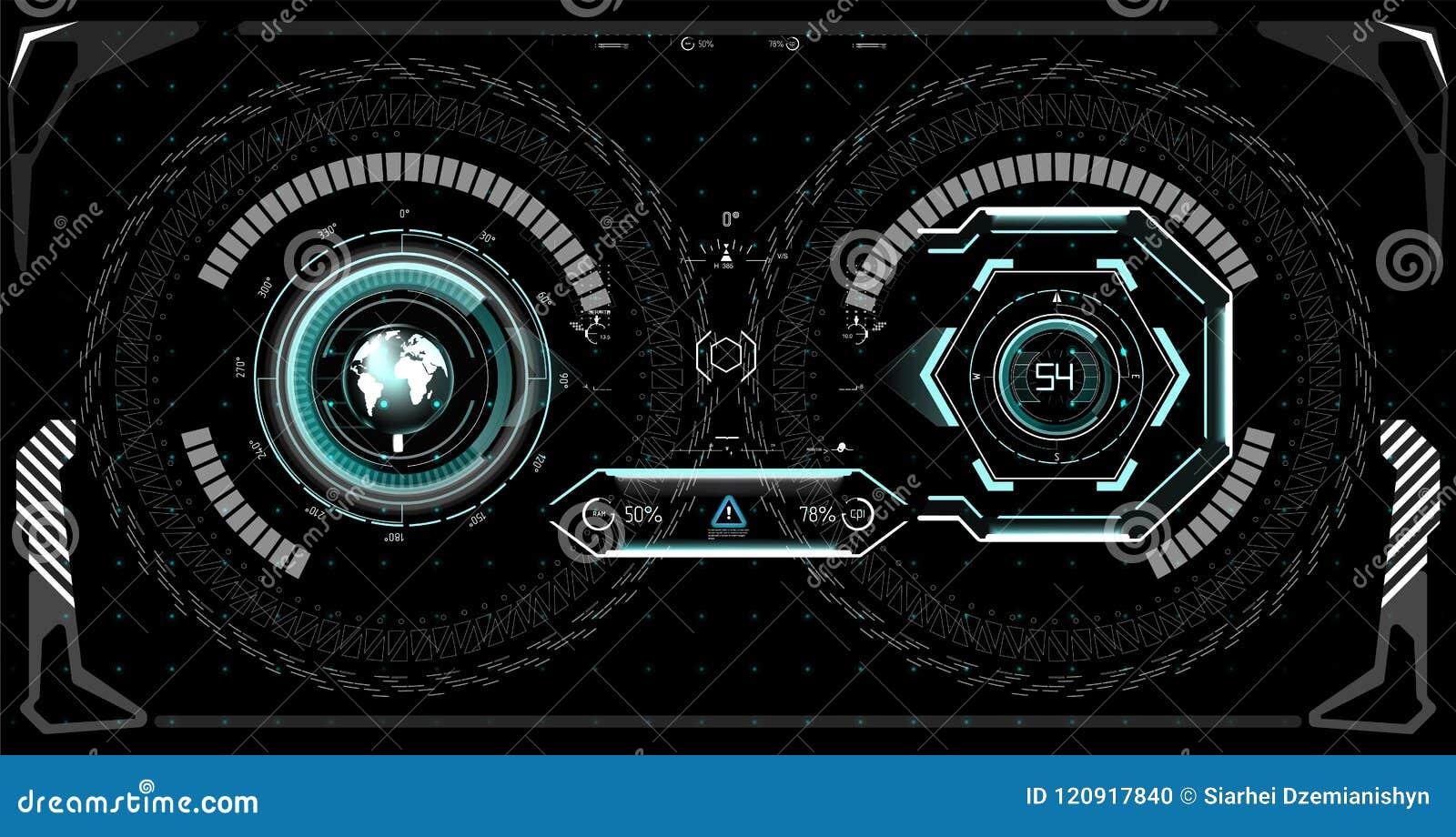 Futuristic Technology HUD Screen  Tactical View Sci-Fi VR Dislpay