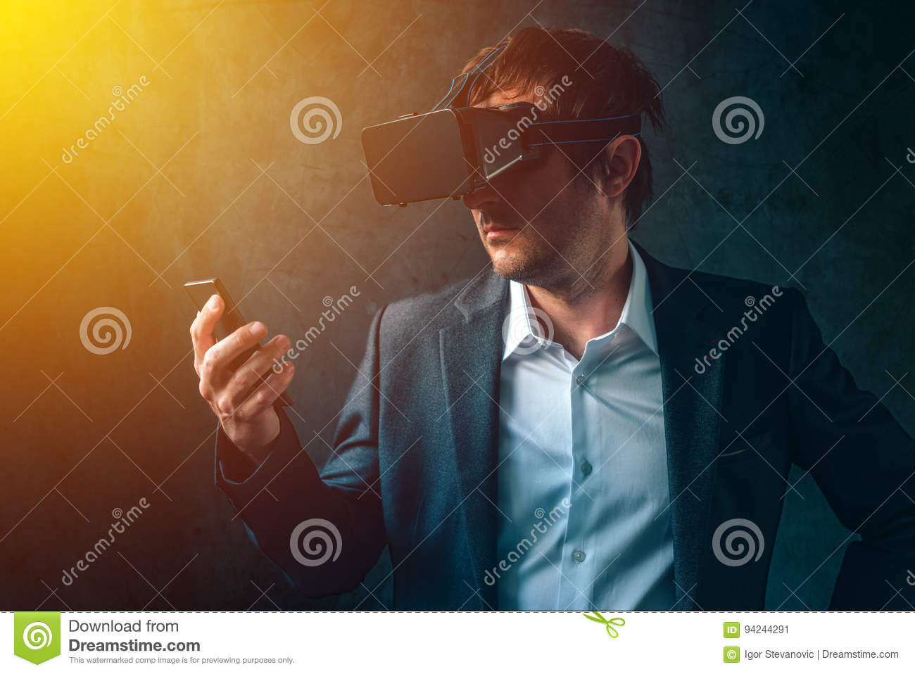 Futuristic technology in modern business, businessman with VR he