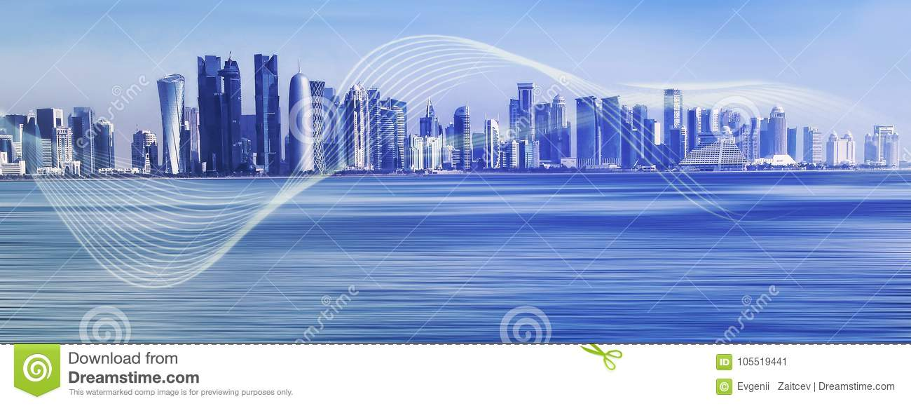 Futuristic urban skyline on blue polygon background. Global communication and network
