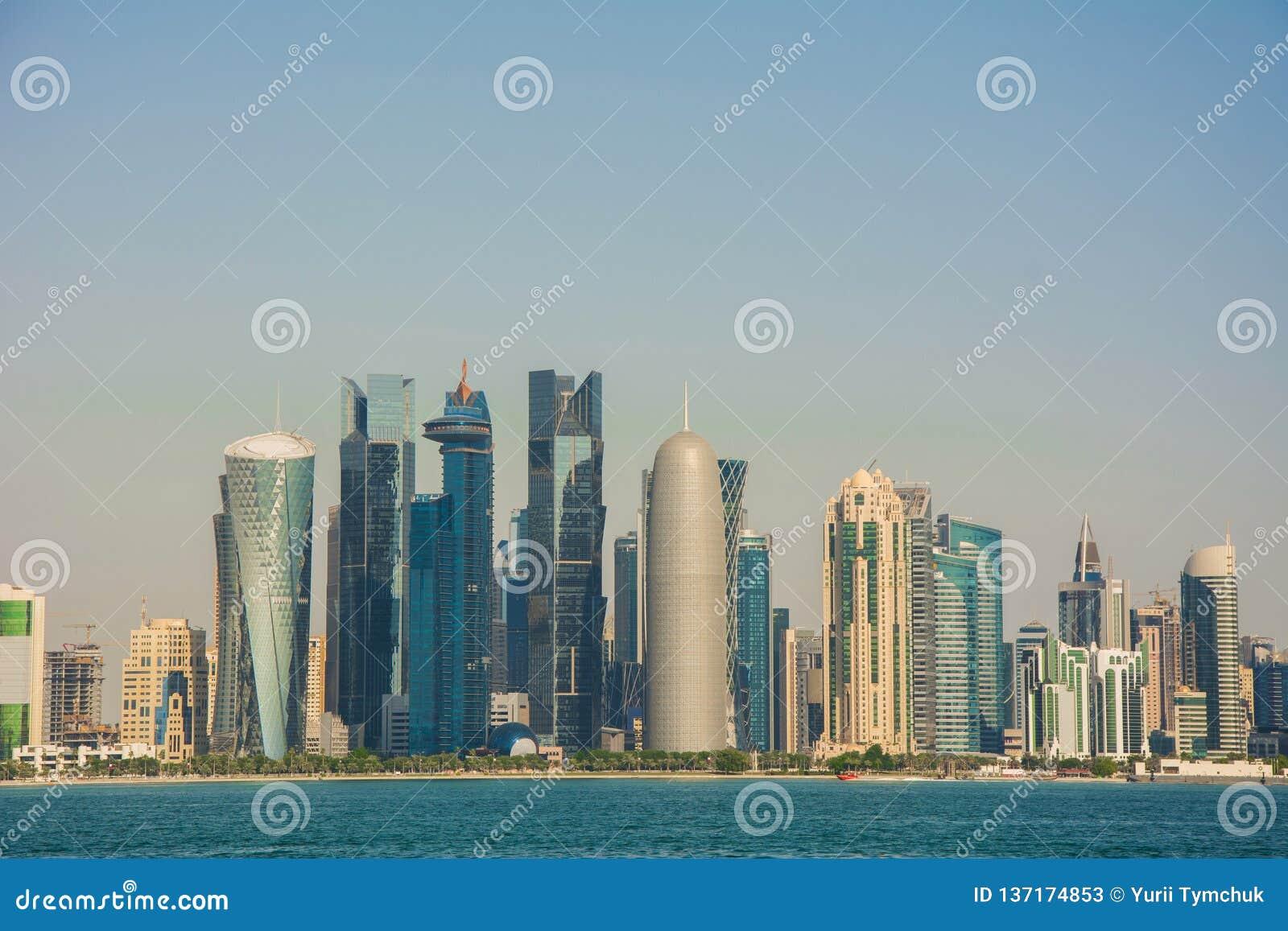 Futuristic urban skyline of Doha, largest city of the Arab state of Qatar