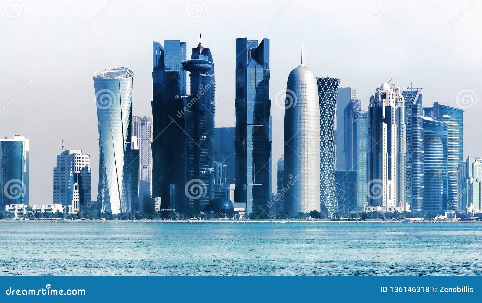 Futuristic urban skyline of Doha, Qatar