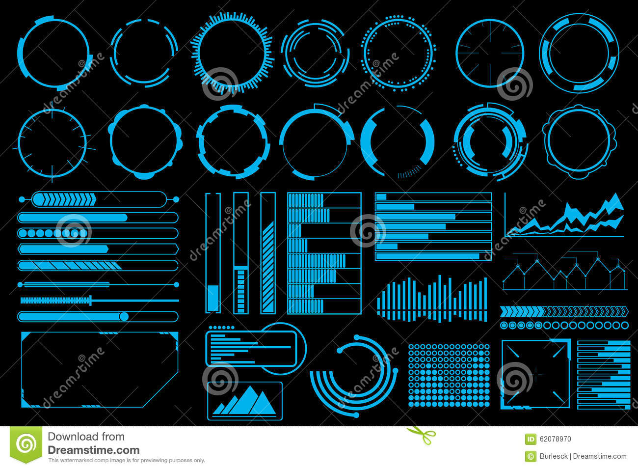 Futuristic User Interface Elements Vector Set Stock Vector ...