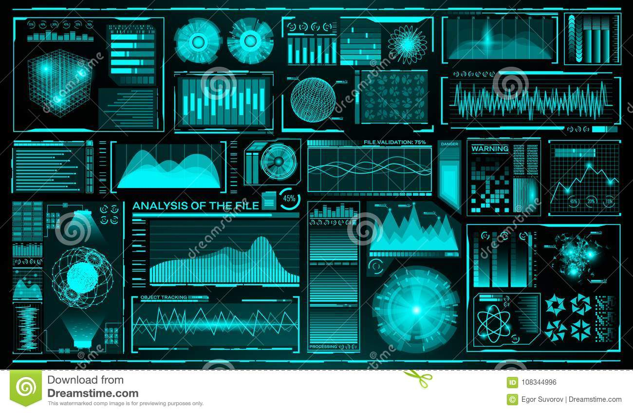 Futuristic user interface set. HUD. Future infographic elements. Technology and science theme. Analysis system. Scanning
