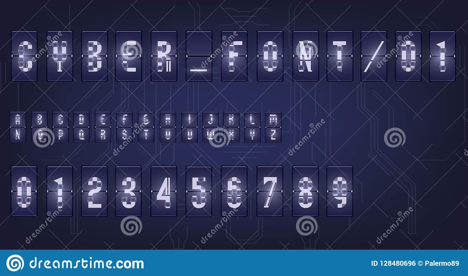 Futuristic Vector Font Design  Letters And Numbers For Web