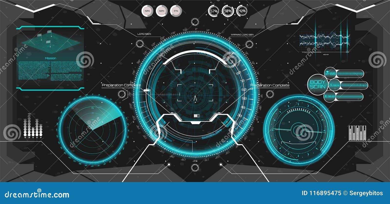 Futuristic VR Head-up Display Design  HUD UI Stock Vector