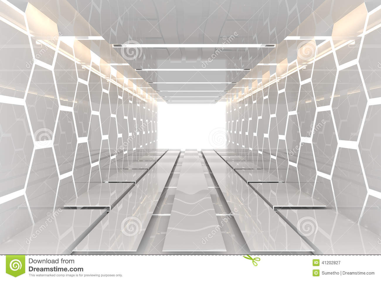 futuristic white hexagon room stock illustration image 41202827