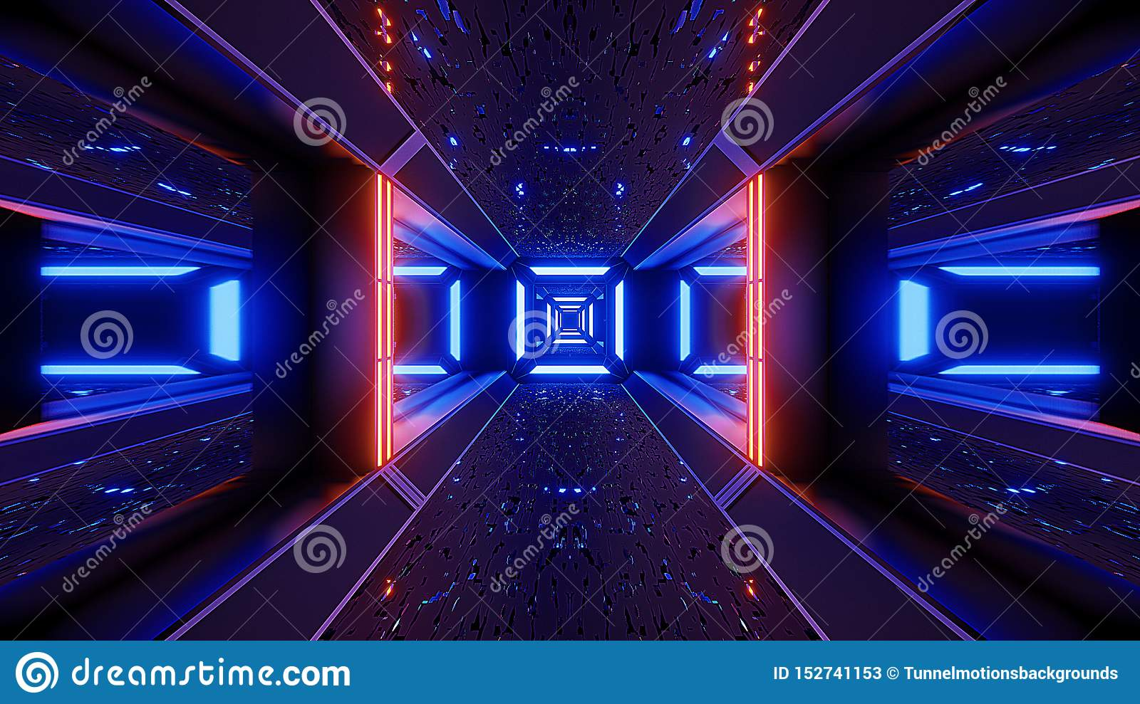 Futuristice Scifi Alien Tunnel Wallpaper 3d Rendering Stock