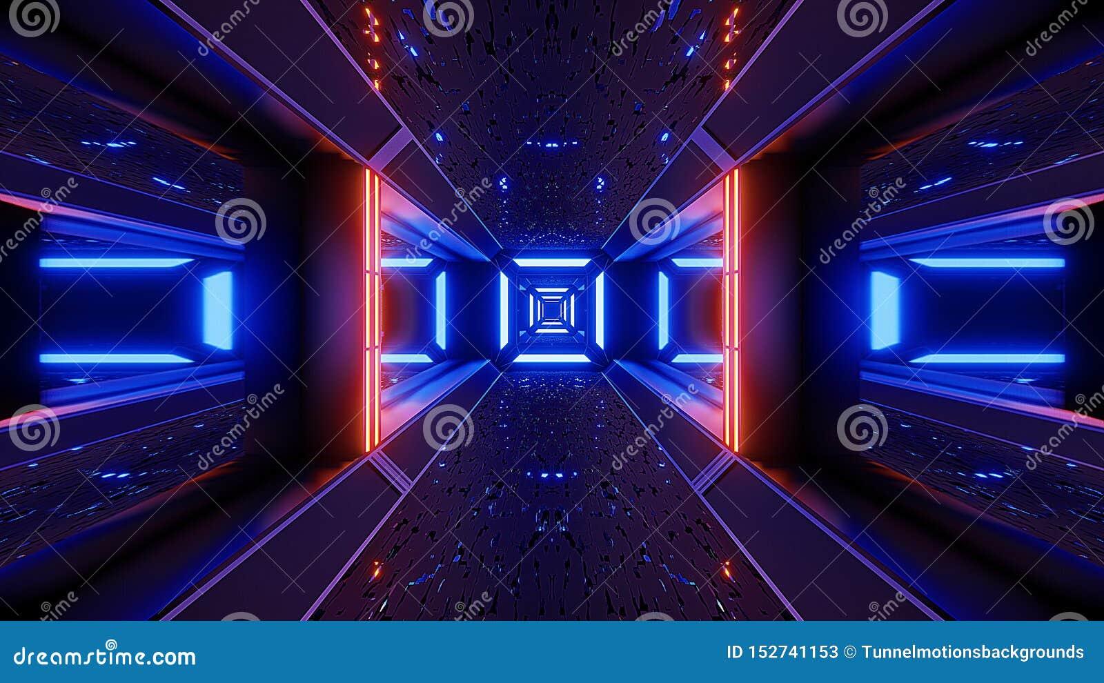 Futuristice Scifi Alien Tunnel Wallpaper 3d Rendering Stock
