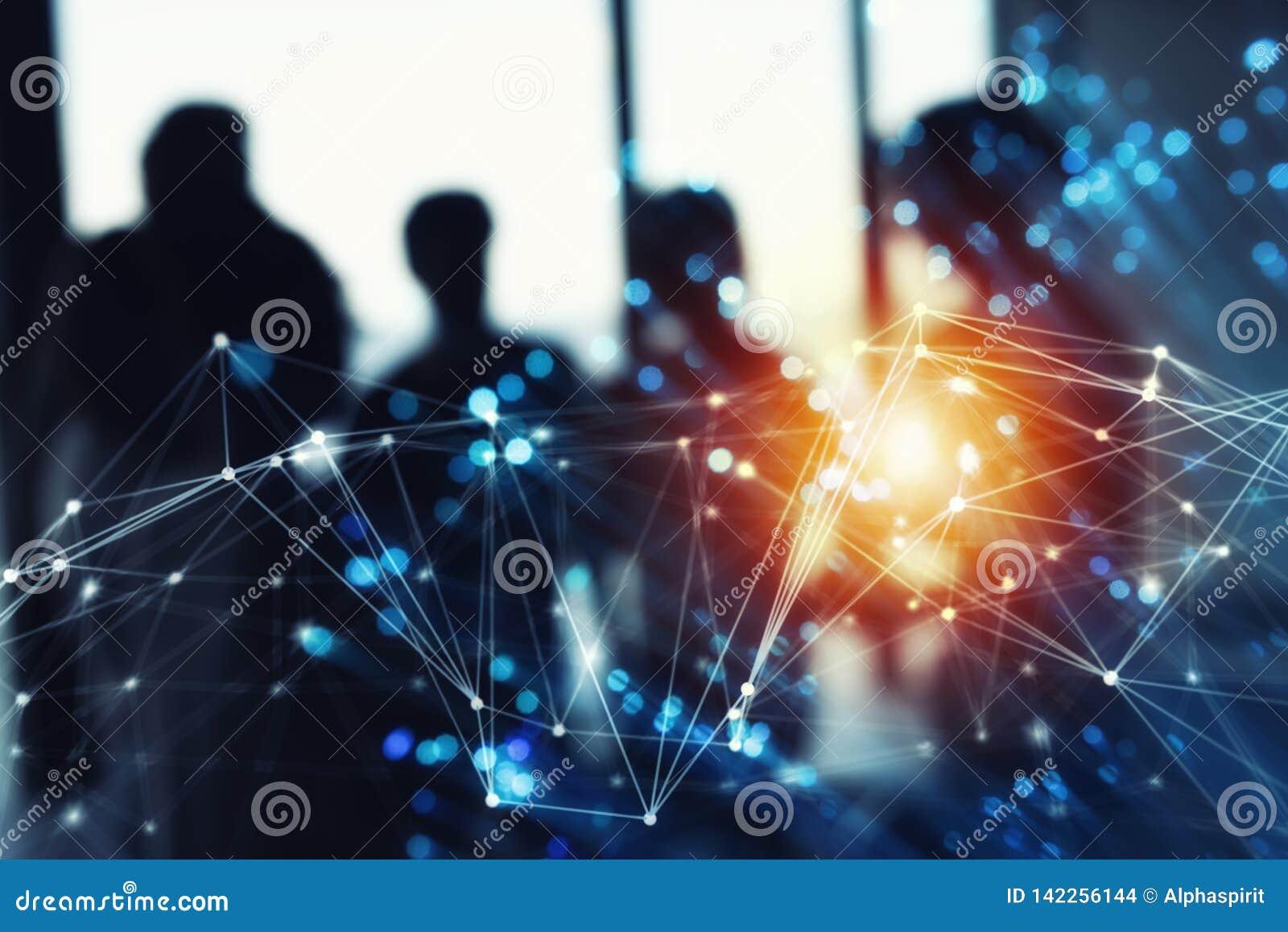 Futuristisch abstract Internet-verbindingsnetwerk met silhouet van commercieel team