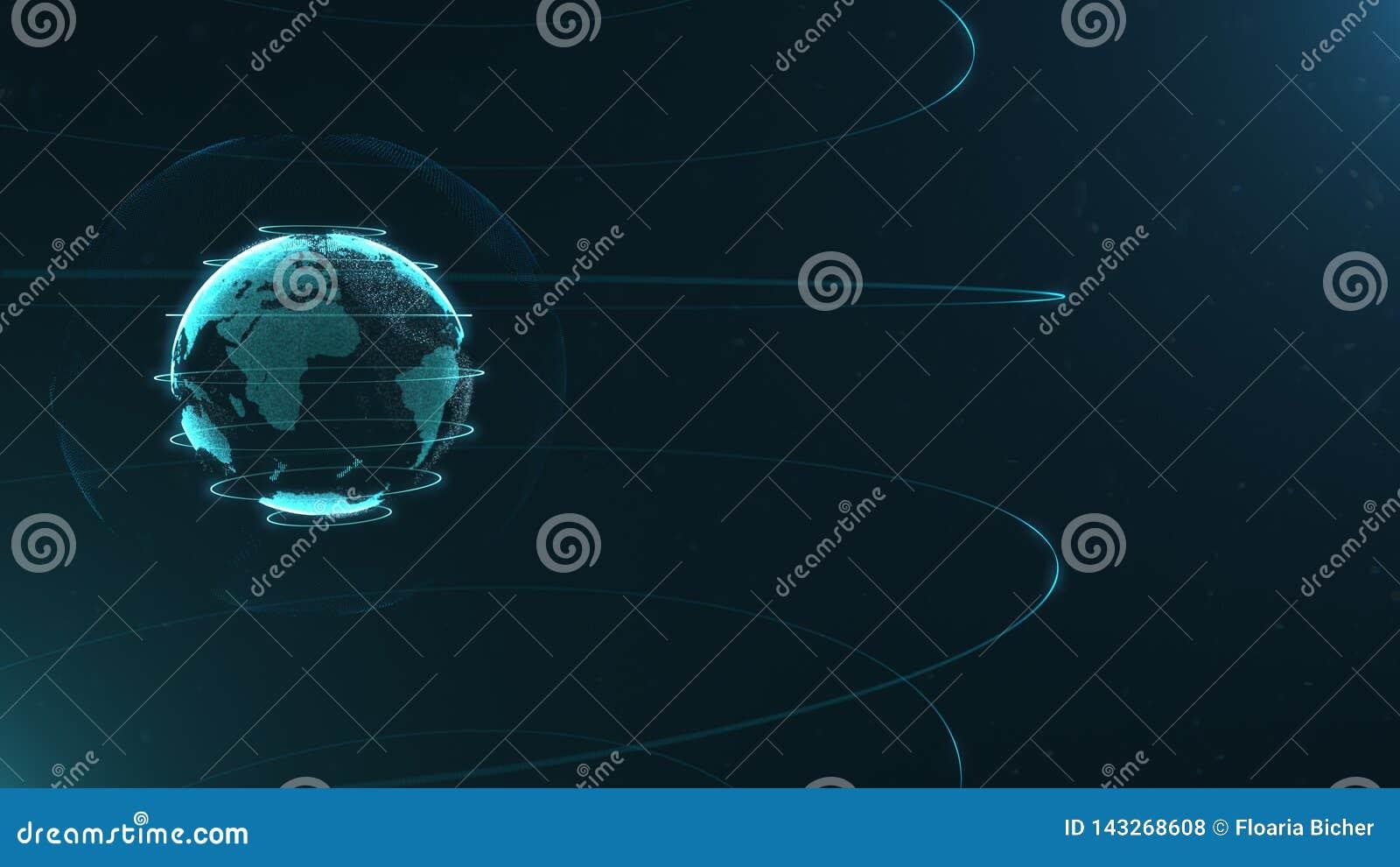 Futuristisch gebied van punten Globaliseringsinterface Betekenis van wetenschap en technologie abstracte grafiek het 3d teruggeve