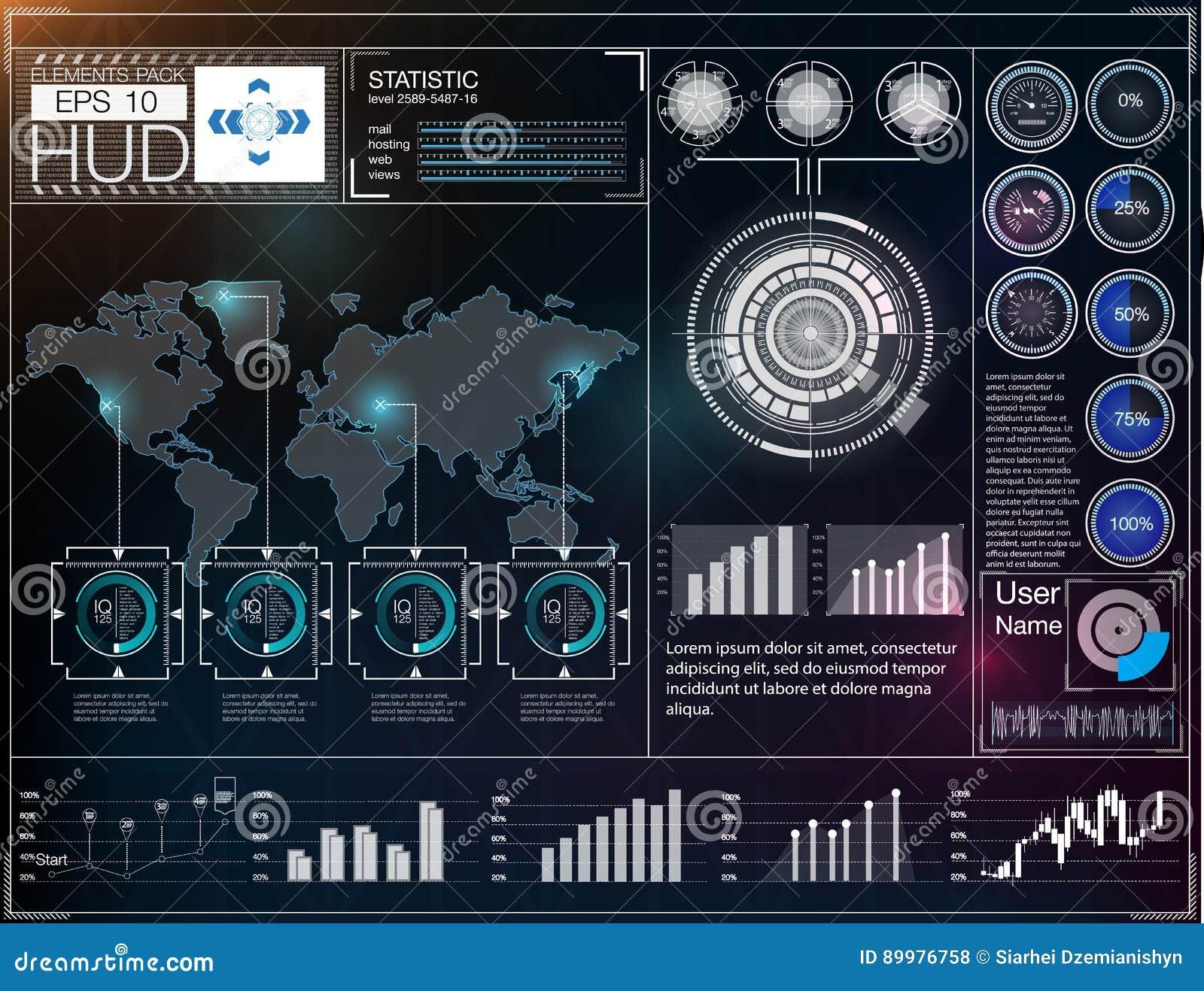 Futuristisch gebruikersinterface HUD UI Abstract virtueel grafisch aanrakingsgebruikersinterface Hud achtergrondkosmische ruimte