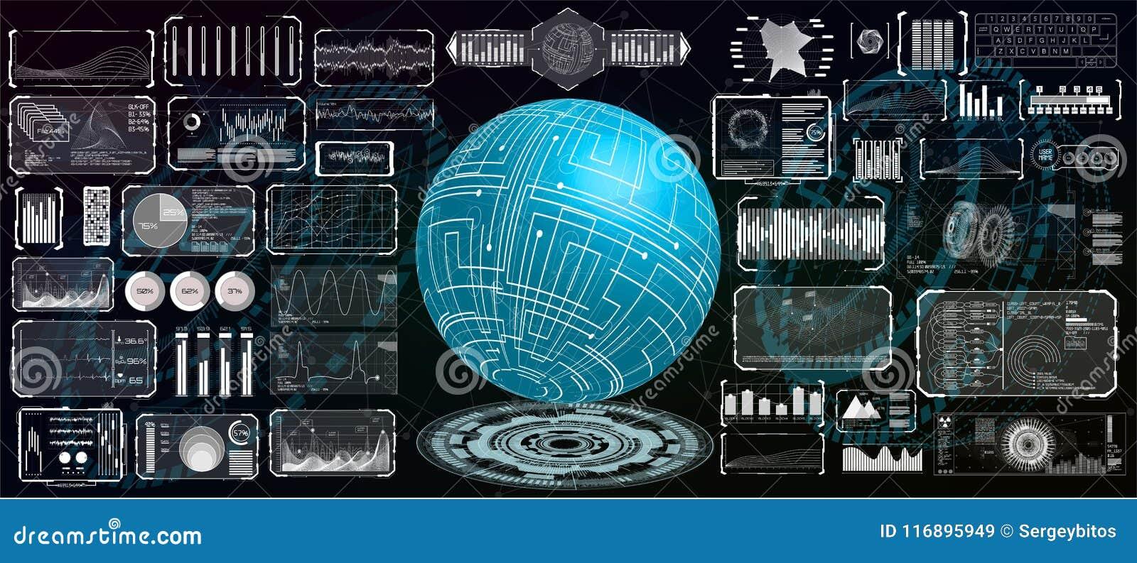 Futuristisch interface hud ontwerp voor zaken app