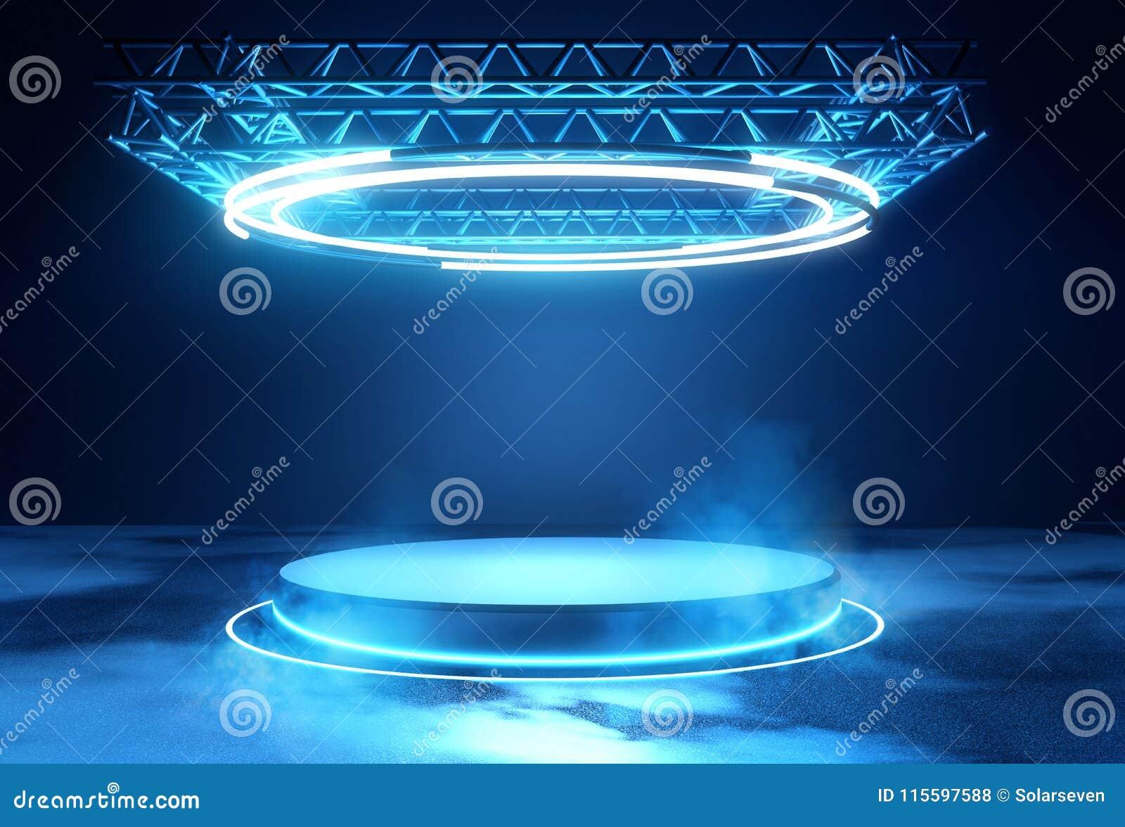 Futuristisch Stadiumplatform met Verlichting