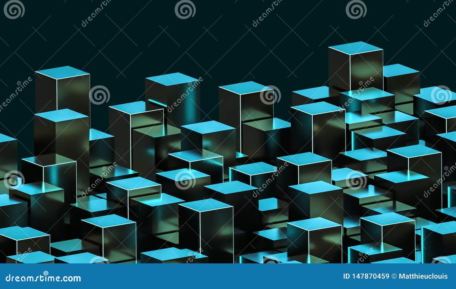 Futuristische abstrakte grüne und cyan-blaue metallische glühende Cuboidsillustration Bau, Stadt, Architektur, Datenkonzepte 3d