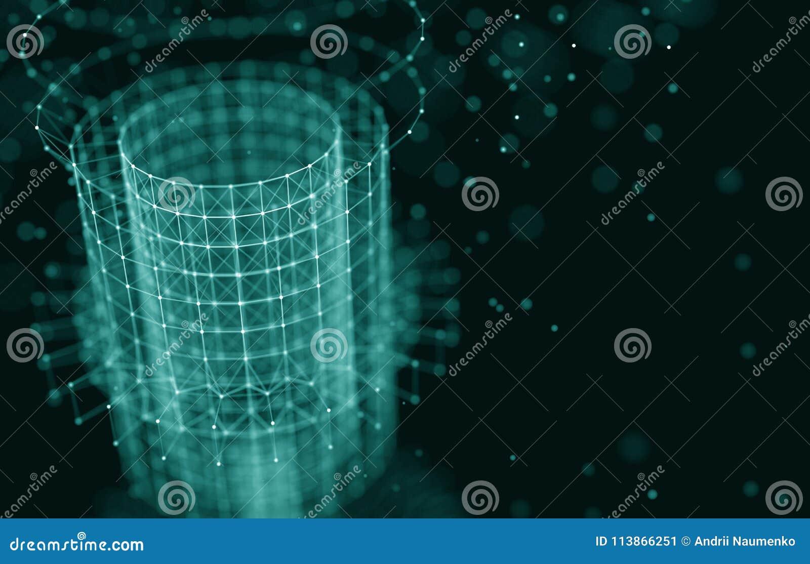 Futuristische Achtergrond 3d geef illustratie terug Abstracte architectuur Ruimtebouw Donkere achtergrond sc.i-FI Punten en