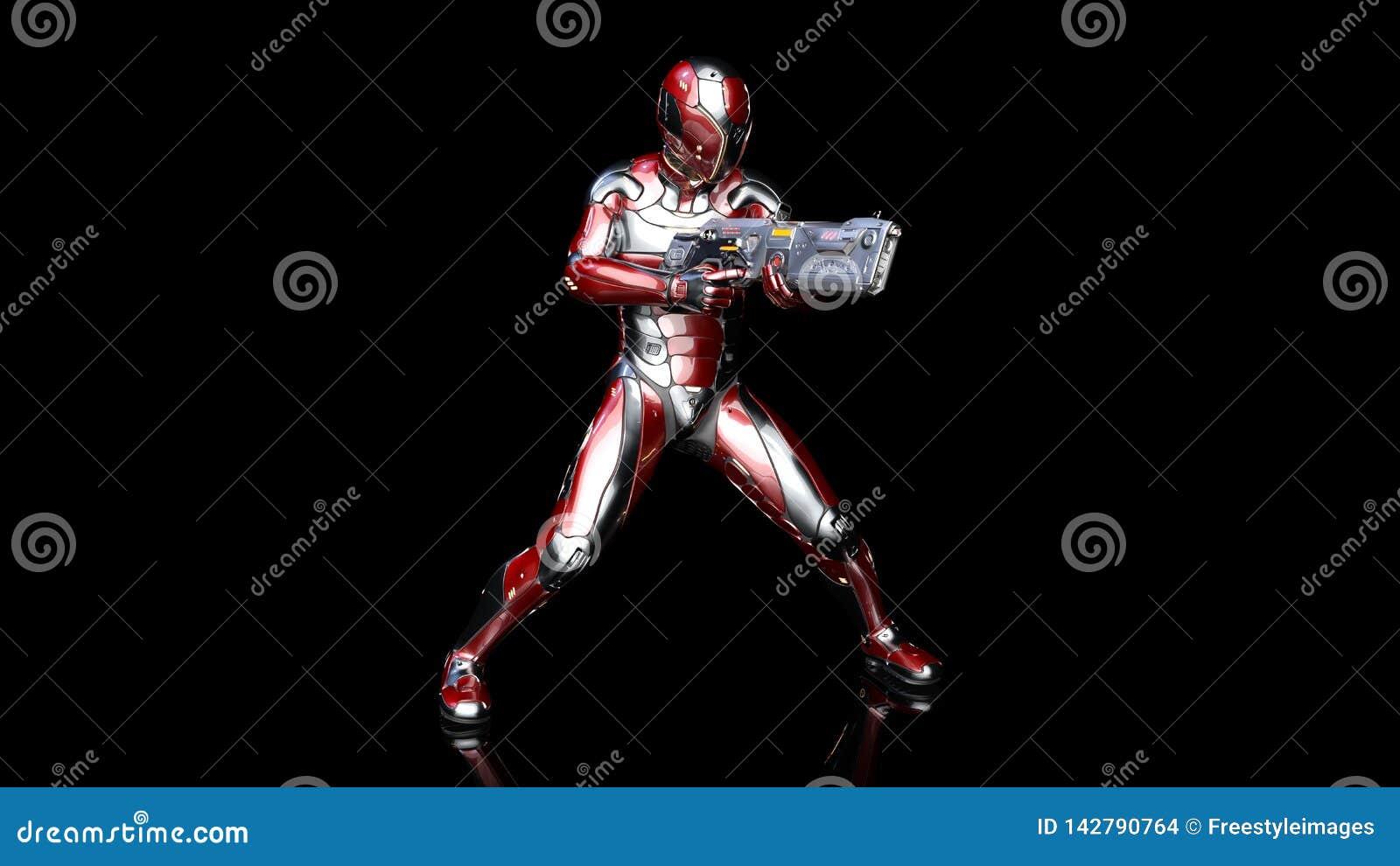 Futuristische androïde militair in kogelvrij pantser, militaire cyborg die met sc.i-FI geweerkanon wordt bewapend die op zwarte 3