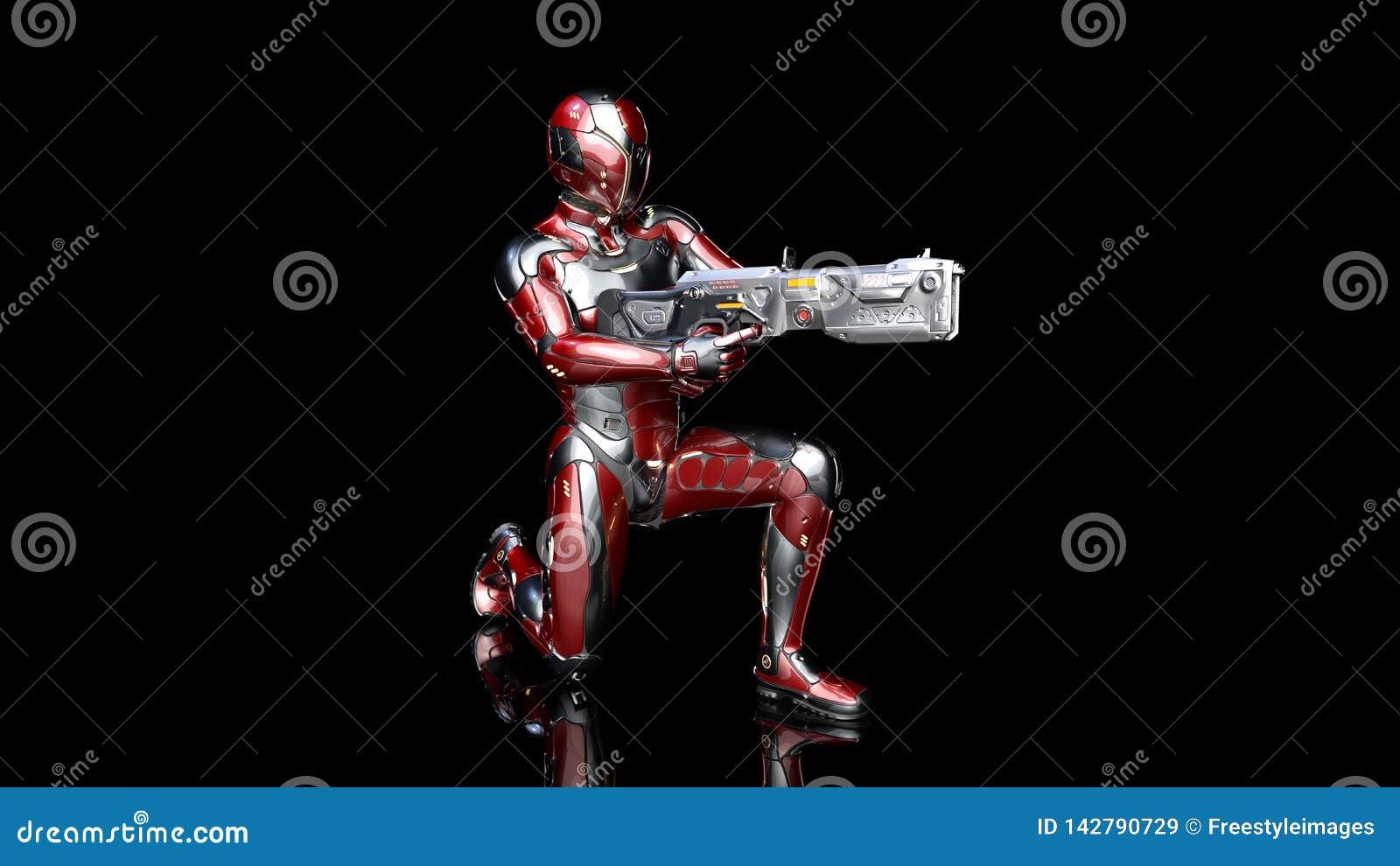 Futuristische androïde militair in kogelvrij pantser, militaire die cyborg met sc.i-FI geweerkanon wordt bewapend die op zwarte 3