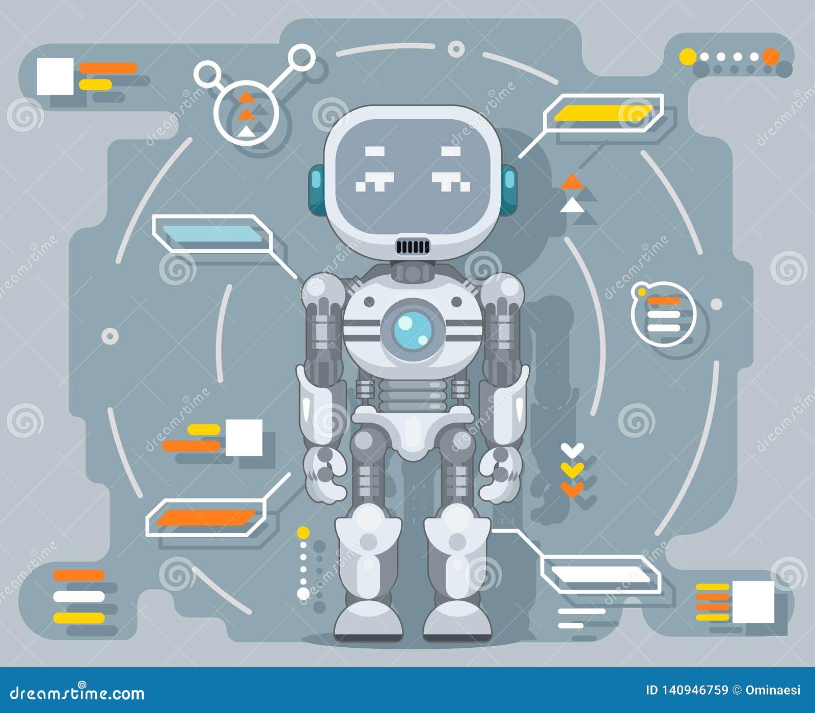 Futuristische androïde van de de informatieinterface van de robot elektronische kunstmatige cybernetische intelligentie vlakke he